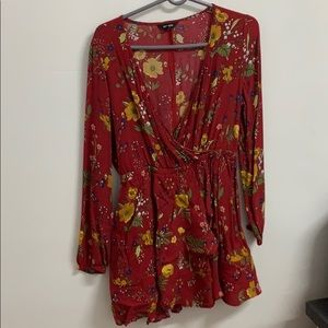 Floral ruffle elastic waist wrap dress